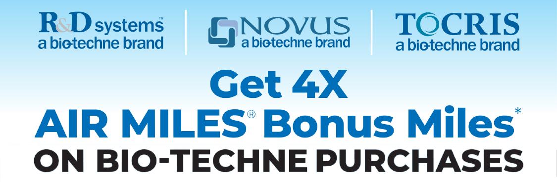 Bonus Air Miles Reward Miles on all Bio-Techne purchases through Cedarlane
