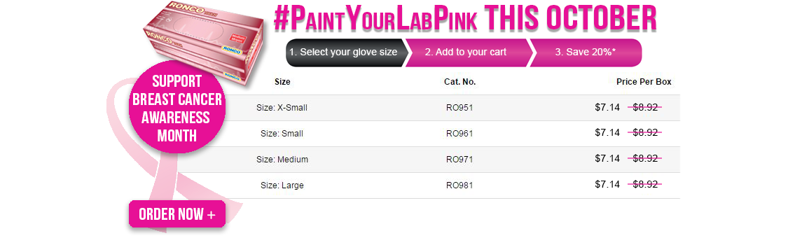 Save on Ronco Touch Pink Nitrile Examination Gloves for Breast Cancer Awareness Month