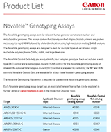 Canon BioMedical Novallele Genotyping Assays Product List
